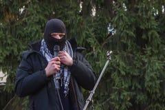 Zhytomyr, Ukraine - February 12, 2016: Extremist ready for fight Stock Photography