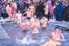 Zhytomyr, Ukraine - 19. Januar 2016: Leute, die Offenbarung feiern Stockfotos