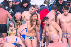 Zhytomyr, Ukraine - 19. Januar 2016: Leute, die Offenbarung feiern Lizenzfreie Stockfotos