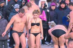 Zhytomyr, Ukraine - 19. Januar 2016: Leute, die Offenbarung feiern Lizenzfreies Stockbild