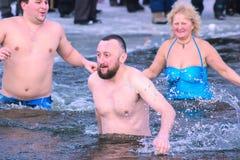 Zhytomyr, Ukraine - 19. Januar 2016: Leute, die Offenbarung feiern Lizenzfreie Stockfotografie