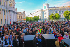 Zhytomyr, Ukraine - June 20, 2015: Requirements of entrepreneurs supported by leader of the Radical Party Oleg Lyashko. Zhytomyr, Ukraine - June 20, 2015 stock image