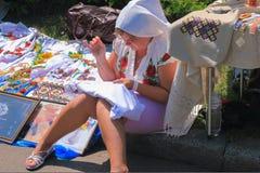 Zhytomyr, Ukraine - June 20, 2015: Ukrainian woman in an old present authentic national costume highlanders Stock Photos