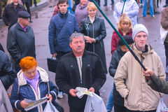Zhytomyr, Ukraine - May 5, 2015: Requirements of entrepreneurs supported by the leader of the Radical Party Oleg Lyashko Royalty Free Stock Images