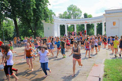 Zhytomyr, Ukraine - May 28, 2015: Running kids at water competition Stock Photos