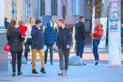 Zhytomyr, Ukraine - October 19, 2015: people are communicating on the street stock images