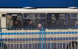 Zhytomyr, Ukraine - September 10, 2014: Large group of People going by bus stock photos