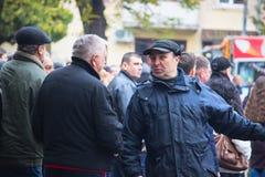 Zhytomyr, Ukraine - September 23, 2017: man want to explain something. On street Royalty Free Stock Photo
