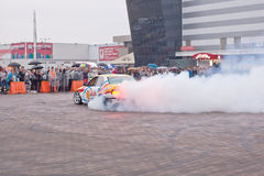 ZHYTOMYR, UKRAINE - SEPTEMBER 05 2015: Sports a car in a cloud of smoke Royalty Free Stock Photography