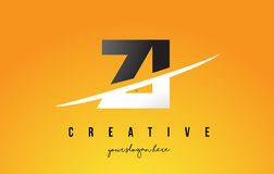 ZI Z I Letter Modern Logo Design with Yellow Background and Swoo Stock Photo
