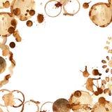 ziarna kawy tło białe ramy Kawowe farb plamy royalty ilustracja