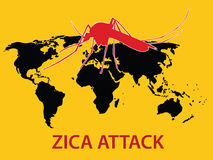 Zica virus attack concept world map globe. Vector Stock Photos