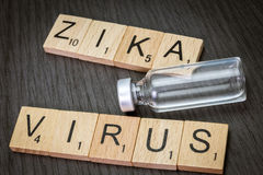 Zica virus, written in letters wood Stock Images