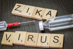 Zica virus, written in letters wood. Concept health remedy Stock Image