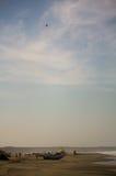 Zicatela海滩和老鹰在天空小船和小屋Puerto Escond 免版税库存照片