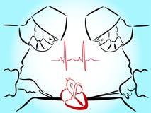 Zichtbaar het hart, handen van hartchirurgen met hulpmiddelen Stock Afbeelding