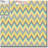 Zickzack und Streifen zeichnen Fliese mit Beispielmuster Vektor illustra lizenzfreie abbildung