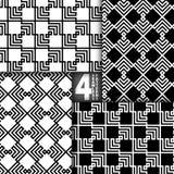 Zickzack-Vektor-nahtloses Muster, Satz von 4 Stockfotografie