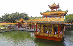 Zidong pleasure boat on the qingping lake at baomo garden, china stock image