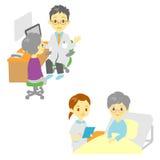 Zie een arts en in het ziekenhuis, oude vrouw stock illustratie