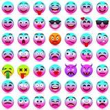 Zie Emoties onder ogen Grappig gezicht Vector illustratie Roze en blauwe smileys 2018 Stock Foto