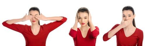 Zie geen kwaad, hoor geen kwaad, spreek geen kwaad concept. Vrouw met haar omhoog handen. Royalty-vrije Stock Afbeelding