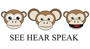 ZIE HOREN geen kwade omgekeerde grafische vector van 3 wijze apen SPREEK stock illustratie