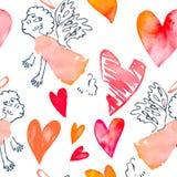 Zie mijn andere werken in portefeuille Valentininedag Vector Patroon met harten en cupido's Vector Royalty-vrije Stock Foto
