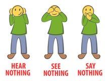 Zie niets, hoor niets, zeg niets aan iedereen bedrijfsconcept in krabbelstijl vector illustratie