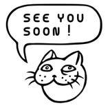 Zie spoedig u! Beeldverhaal Cat Head De Bel van de toespraak Vector illustratie Royalty-vrije Stock Afbeeldingen
