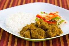 Ziege-Curry mit Reis - Caribbe lizenzfreies stockbild