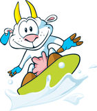 Ziege, die auf die Milchwelle surft Stockfoto