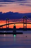 Ziege-Insel-Leuchtturm am Sonnenuntergang Stockbild