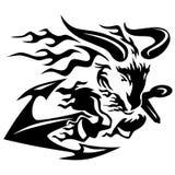 Ziege Ram mit Schiffen verankern schwarzes Federzeichnungs-Vektor-Illustration stock abbildung