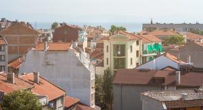 Ziegeldächer der alten Stadt von Pomorie in Bulgarien Lizenzfreies Stockfoto
