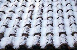 Ziegeldach im Schnee Stockbilder