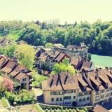 Ziegeldach von Bern- und Aare-Fluss (die Schweiz) Lizenzfreies Stockbild
