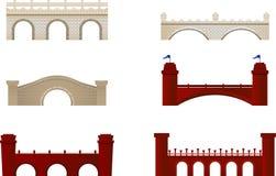 Ziegelstein-Brücken-Bogen-Architektur-Gebäude-Monument-Rot und Weiß vektor abbildung