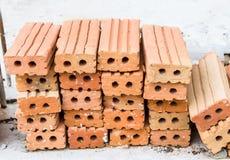Ziegelstein des roten Lehms Stockfoto