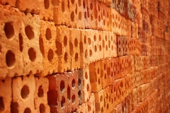 Ziegelstein des roten Lehms Stockbild
