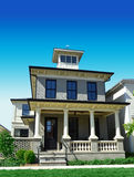 Ziegelstein-Haus mit Spitze der Witwe lizenzfreies stockfoto