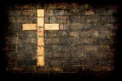 Ziegelstein Kreuz von Christ gemasert Lizenzfreies Stockfoto