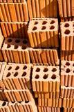Ziegelstein mit Loch und Linie Beschaffenheit Lizenzfreie Stockbilder