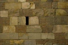 Ziegelstein- und Steinblockwandbeschaffenheit stockbild