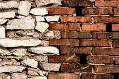 Ziegelstein- und Steinwandverbindung stockfotografie