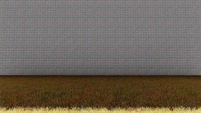 Ziegelstein-Wand-herein hinterer und grasartiger Boden lizenzfreie stockfotos