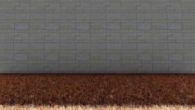 Ziegelstein-Wand-herein hinteres und trockenes Gras-Boden lizenzfreie stockfotografie