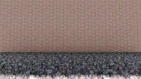Ziegelstein-Wand-und trockenes Gras-Boden stockfotografie