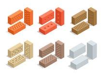 Ziegelsteine auf Weiß Ziegelsteinikonensatz Flache isometrische Illustration des Vektors 3d Lizenzfreie Stockfotos