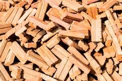 Ziegelsteine des roten Lehms Stockfotos